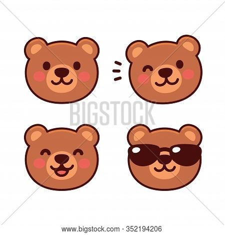 Cute Cartoon Bear Face Set, Mascot Icon, Emoji Sticker Design. Happy Teddy Bear Smiling, Winking, We