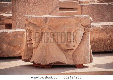 The Head Of The Goddess Hathor. Egypt, Dendera, The Ancient Egyptian Temple Of Dendera Or Hathor Tem
