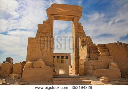 The Ruins Of The Beautiful Ancient Temple Of Dendera Or Hathor Temple. Egypt, Dendera, An Ancient Eg