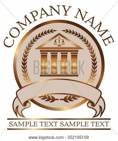 Law Or Lawyer Seal - Gold With Colonnade Is An Illustration Of A Lawyer Or Law Office Seal Or Emblem