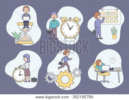 Time Management Concept. Business Men And Women Are Planning Their Work. Concept Of Working Day And