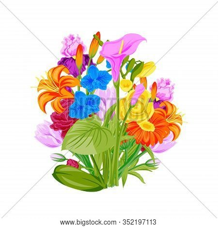 Floral Wreath Of Summer Flowers Arranged In Wreath For Romantic Love Card Or Poster And Birthday Car