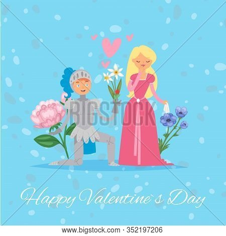 Happy Valentine Day Medieval Princess Lady And Knight Love Day With Flowers And Hearts Cartoon Vecto