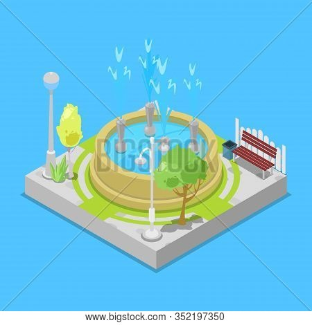 Urban Park And Water Fontain Isometric Element For Leisure And Recreation Outdoor For Family Flat Ve