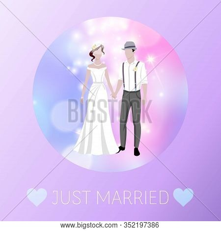 Just Married Newly Weds Bride And Bridegroom Wedding Defocus Background Cartoon Vector Illustration.