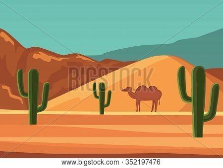 Desert Landscape Poster With Cartoon Camel Vector Illustration. Sandy Wilderness With Cactuses, Moun