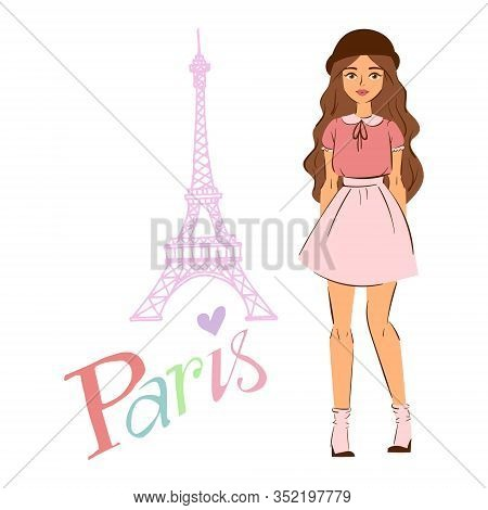Paris And Girl In Fashion Cloths In Front Of The Eiffel Tower Vector Cartoon Illustration. I Love Yo