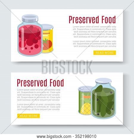 Cartoon Canned, Preserved And Jar Food Banner Horizontal Set Vector Illustration. Conserved And Pres