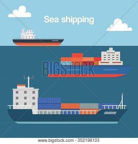 Sea Shipping Cargo Container Sailing Ship Cartoon Vector Illustration. Seagoing Freight Transport Wi