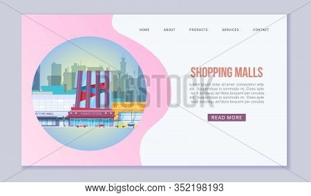 Shopping Mall And Supermarket Web Template Vector Illustration. Commercial Building And Urban Stores
