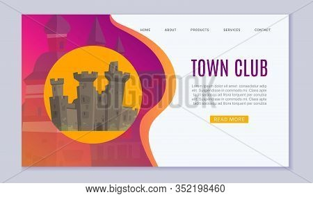 Town Club Promo Website, Cartoon Vector Illustration. Vintage Old Castle Or European Town Towel And
