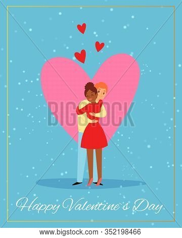 Valentines Day Couple, Love Card With Two Enamored Under Pink Heart Vector Illustration. Caucasian M
