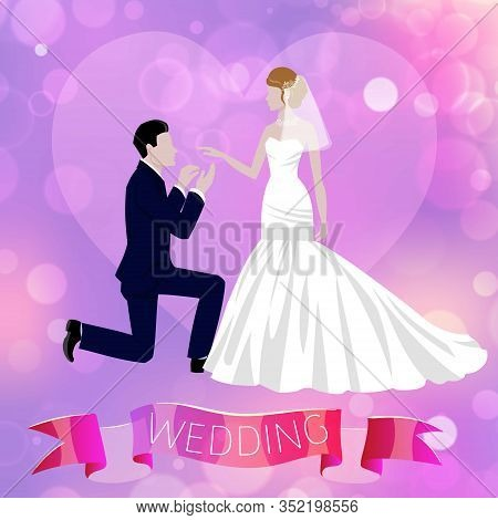 Wedding Couple Newly Married Weds Bride And Bridegroom With Ribbon And Blurred Background Cartoon Ve