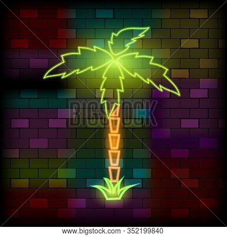 Vip Neon Icons. Night Bright Signboard, Glowing Light Banner. Neon Palm Tree On The Dark Brick Wall
