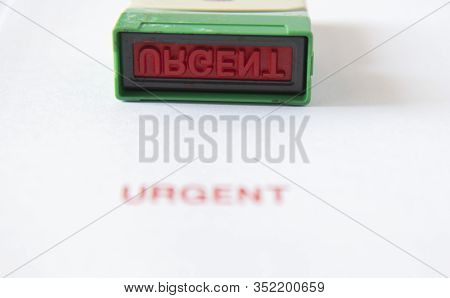 Old Rubber Stamp, Used Office Equipment, Then Put On White Paper  And A Red Uncontrolled Copy Messag
