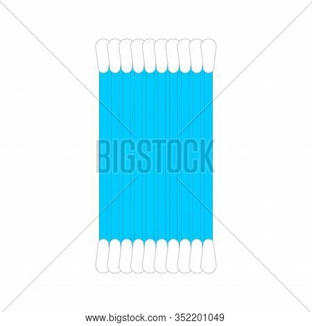 Set Of Ear Sticks. Earwax Cleaning. Vector Illustration