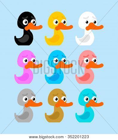 Rubber Duck Multicolor Set. Color Toy Cartoon Bird. Vector Illustration