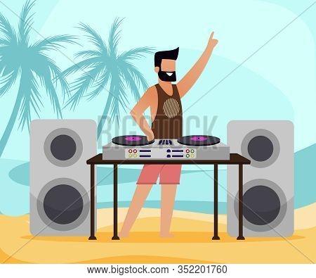 Bearded Dj With Equipment On Tropical Sand Beach With Palm Trees. Flat Cartoon Male Disk Jockey Char