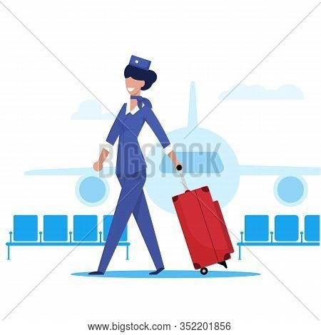 Flight Attendant In Background An Airplane Flat. Beautiful Stewardess Girl Carries Luggage On Aircra