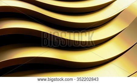 Golden Abstract Metal Background. Futuristic 3d Render Illustration. Matte Gold Metal Design. Steel