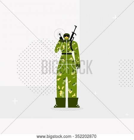 Female Soldier, Trooper Flat Vector Illustration. Young Woman In Camouflage Uniform Holding Walkie T