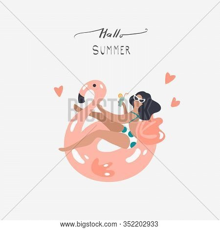 Vector Abstract Summer Time Illustration Card With Girl Swimming On Pink Flamingo Float Circle In Oc