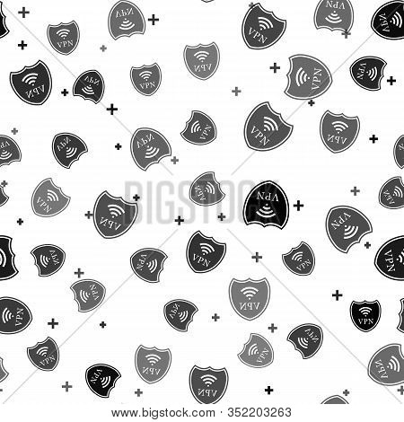 Black Shield With Vpn And Wifi Wireless Internet Network Symbol Icon Seamless Pattern On White Backg