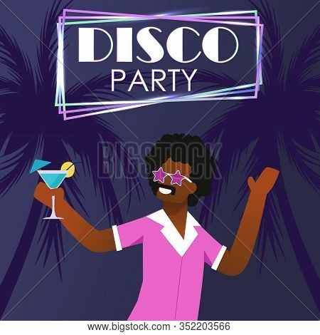 Disco Party On Tropical Beach Invitation Poster. Cartoon Afro American Man In Retro Clothing And Vin
