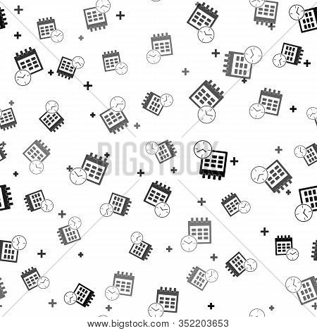 Black Calendar And Clock Icon Isolated Seamless Pattern On White Background. Schedule, Appointment,