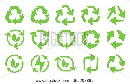 Green Eco Recycle Arrows Icons. Reload Arrows, Recyclable Trash And Ecological Bio Recycling Icon Ve