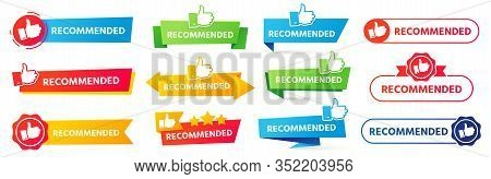 Recommended Banner. Best Recommendation Badge, Bestseller Tag And Tor Rating Advice Banners Vector S