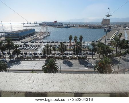 Cagliari, Italy - Circa October 2019: View Of The Sea And Harbour