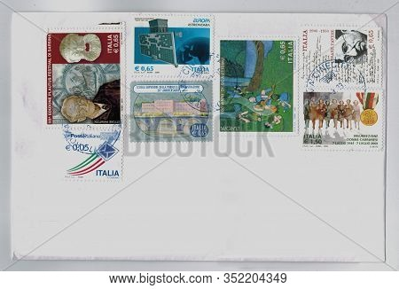 Rome, Italy - Circa October 2019: Stamps Printed By Italy Showing Different Subjects