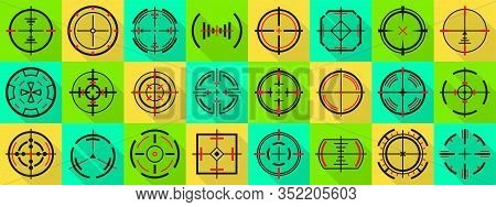 Sniper Sight Vector Flat Set Icon. Vector Illustration Sight And Target. Isolated Flat Icon Eye Targ