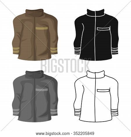 Vector Illustration Of Jacket And Fireman Logo. Collection Of Jacket And Clothing Vector Icon For St