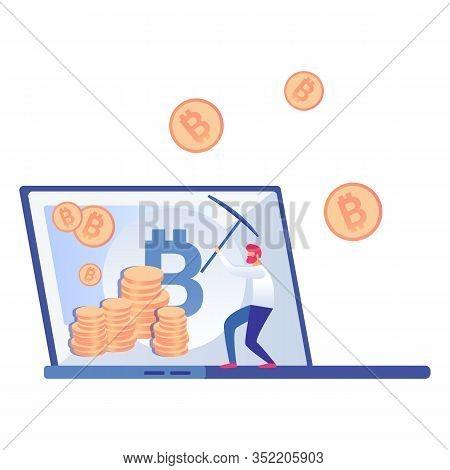Bitcoin, Cryptocurrency Miner Vector Illustration. Redhead Man Holding Pickaxe Cartoon Character. Gu