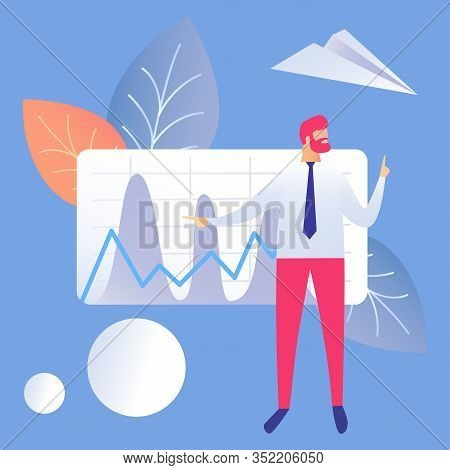 Business Presentation Flat Vector Illustration. Businessman Cartoon Character. Financial Statement,