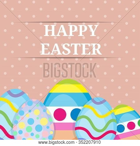 Happy Easter Vintage Greeting Card Template Illustration