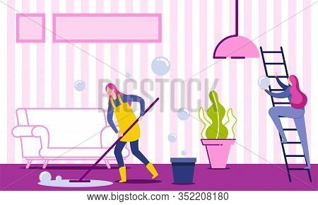 Woman Housekeeper, Housewife Or Cleaning Company Worker Cleaning And Washing Floor In House Living R