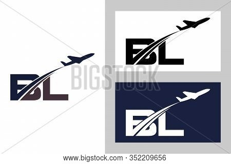 Initial Letter B and L with Aviation Logo Design, Air, Airline, Airplane and Travel Logo template.