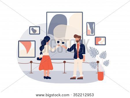 Art Gallery Opening. Man Woman Drink Wine Vector Illustration. Contemporary Abstract Paintings Colle