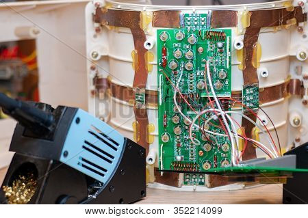 Electronic Board During Its Reworking In The Laboratory