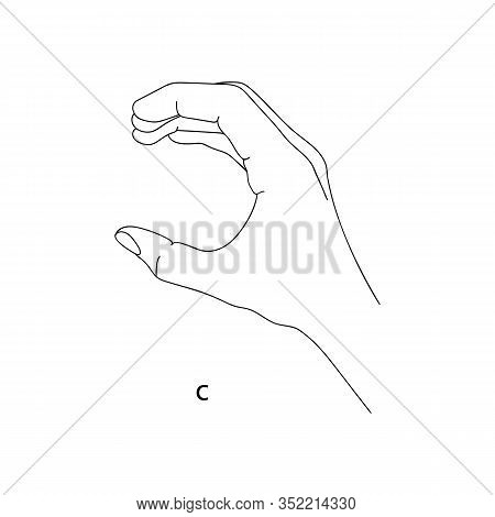 C Is The Third Letter Of The Alphabet In Sign Language. Vector Graphics Image Of A Hand. The Languag