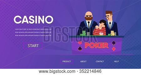 Sad Unlucky Man Cry Lose Money Security Guard Near Casino Table Vector Illustration. Poker Card Game