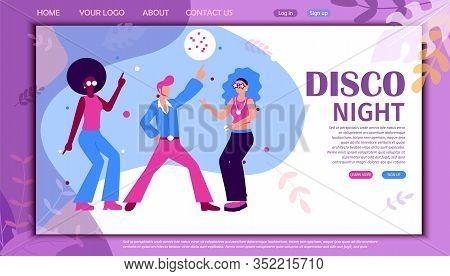 Disco Night Banner. Cartoon Dancers Retro Dance Party In Nightclub Vector Illustration. People In Fu