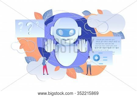 Analysis Enterprise Using Artificial Intelligence. Men And Women Use Data Processed Artificial Intel