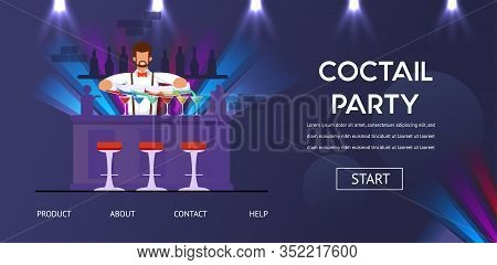 Cocktail Party Bartender At Counter Bar Preparing Alcohol Drinks Vector Illustration. Man Profession