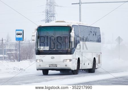 Novyy Urengoy, Russia - January 25, 2020: Intercity Coach Bus Higer Klq6129q In The City Street.