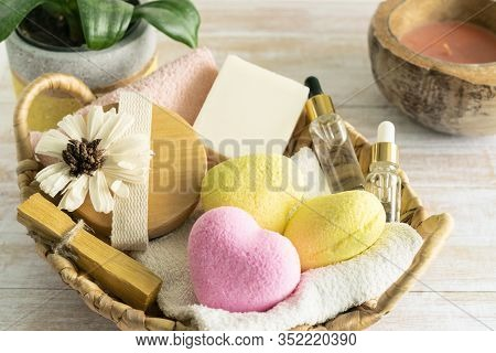 Relaxing Bath Accessories With Yellow And Pink Heart Shaped Bath Bombs, Body Brush, Serum, Palo Sant