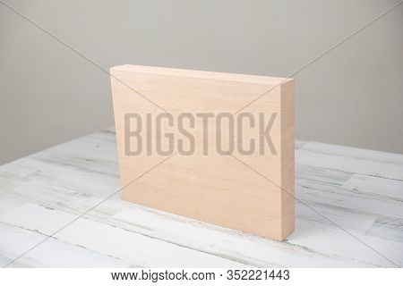 Blank Wooden Block Or Box On Isolated White Gray Studio Background